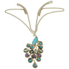Women's Green Peacock Rhinestone Gem Bronze Pendant Long Chain Necklace Jewelry