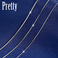"""GENUINE 925 Sterling Silver 1mm BOX Chain Necklace for Pendant Jewelry 18"""" /45cm"""