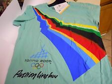 """New Torino Italy 2006 Olympics Green T-Shirt """"Passion Lives Here""""  LARGE"""