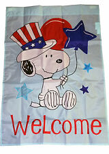 "PEANUTS SNOOPY WELCOME PATRIOTIC FLAG~28""x40""~LABOR DAY, MEMORIAL DAY, JULY 4TH"