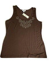 NWT, Bogari Tank Top Blouse Brown Silk And Cotton Blend Size XL Sequin
