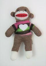 """Dan Dee Sock Monkey Knit Sweater with Heart Plush Stuffed Toy 10"""""""