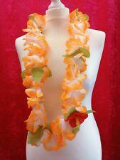 Pretty Orange Hawaiian Flower Garland Lei Luau Party Beach Fancy Dress