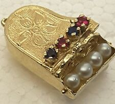 Vintage 14k Gold Charm, Grand Piano ,Ruby, Sapphire, Seed Pearl , 5.2 grams