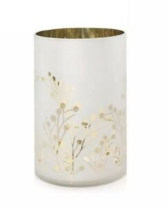 YANKEE CANDLE GREENERY COLLECTION FROSTED WHITE & GOLD CANDLE HOLDER RETIRED