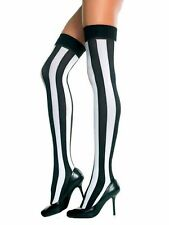 4ddf03e17 vertical stripes thigh high stockings black white