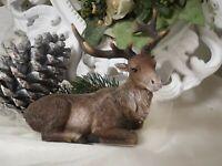 Rentier Elch Hirsch liegend Braun Christmas Weihnachten Shabby Vintage Deko 18cm