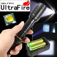 Black Tactical 6000 Lumen Zoomable CREE XML T6 LED Flashlight Lamp 18650&Charger