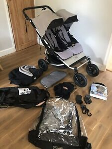 Mountain Buggy Duet V3 Double Pram Grey W/Carry Cot & Joey - Bundle / Extras