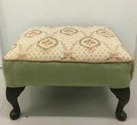 Vintage Retro Square Wooden Footstool with Tapestry Top