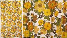Vintage años 60 Verde Amarillo Floral Cortina pieza de tela de mediados de siglo Camper Groovy
