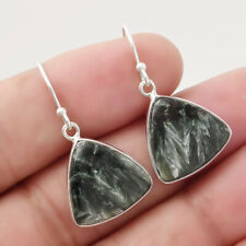 Natural Russian Honey Dendrite Opal 925 Sterling Silver Earrings Jewelry 2456