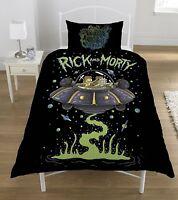 SINGLE BED DUVET COVER SET RICK AND MORTY UFO SPACE SHIP BLACK REVERSIBLE SET