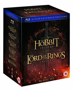 THE HOBBIT + LORD OF THE RINGS 6 FILM EXTENDED EDITIONS BLU RAY BOXSET 30 DISCS!