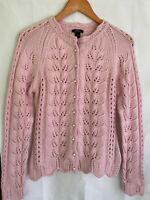 Prive - Pink Cashmere Cardigan Sweater Pearl Buttons Size Medium