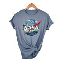 Women's T-Shirts NASA Starry Sky Funny Graphic Shirt Short Sleeve Cotton Top Tee