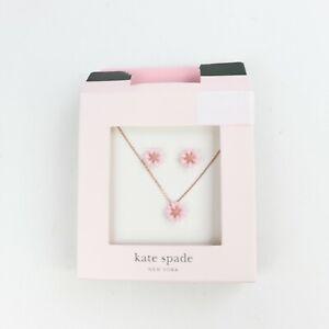 Kate Spade New York, Flower Stud Earrings & Pendant Necklace Set, Pink Open Box