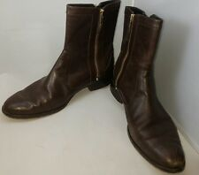 Ann Taylor Women's Brown Leather Zippered Ankle Boots Low Heel Size 9 Medium