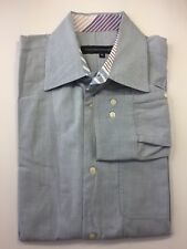 French Connection Men Dress Shirt M Spread Collar Long Sleeve Blue Cotton