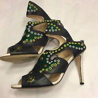 LK BENNETT heels 40 UK 7 black white strappy studded embellished sandals