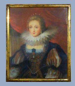 Ancien Portrait Reine De France Anne d'Autriche Rubens Pastel XIXe louis XIII