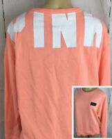 Victoria's Secret Sweatshirt Pullover Crew Oversized Peach PINK Logo High Low XS