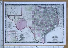 """Old Antique Vintage Historic MAP 1800's: Texas, America 1863: 12.5 X 9"""" Reprint"""