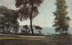 1912 Madison Wisc, Mendota Park showing Maple Bluff, picnicking - Vntg POSTCARD