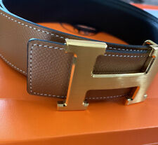Hermes Men's H belt BROWN/BLACK REVERSIBLE AUTHENTIC