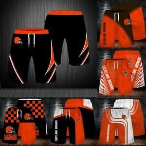 Cleveland Browns Men's Summer Shorts Workout Fitness Casual Short Pants S-5XL