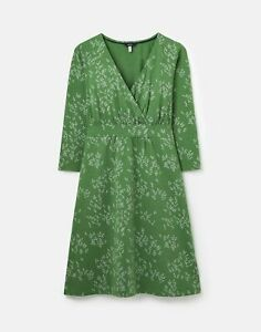 Joules Womens 212725 Wrap Dress With 3/4 Sleeve - Green Ditsy - 12