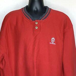 Mens Wisconsin Badgers Reverse Weave Champion Sweatshirt Red Henley READ