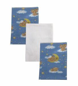 Teddy Bear Dreams 100% Organic Cotton Flannel Baby Boy Receiving Blankets X 3