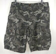 Arizona Men Cargo Shorts Classic Fit Hits at Knee Gray Navy Camouflage
