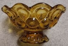 "Vintage Mid Century Amber Pressed Glass Moon & Stars Footed Fruit Bowl 8"" x 4"""