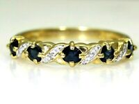 Pretty Sapphire & Diamond 9ct Yellow Gold Half Eternity ring size N ~ 6 3/4