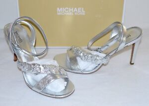 New $150 Michael Kors Tricia Sandal Silver Metallic Leather Flower Ankle Strap