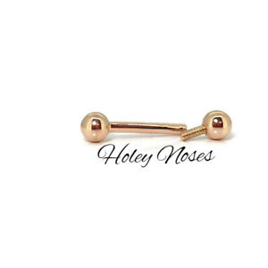 Solid 18ct Rose gold Barbell 12g 5mm solid gold balls 10-14mm will custom make