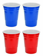 16oz Red & Blue Hard Plastic Cup 4 Pack Drink Solo Or W/ Friends Beer Wine Set