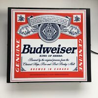 Budweiser Beer Pub Sign Bar Light Man Cave Blue White Brewed In Canada