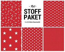 Stoffpaket rot 5x (0,5 x 1,50m) Patchworkpaket Baumwolle Nähpaket DIY Stoffe
