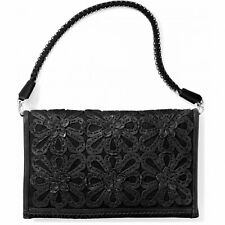 NWT Brighton Masterpiece ELAINE Black Leather Soft Clutch Purse Handbag MSRP$380