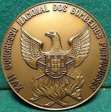 FIREFIGHTERS NATIONAL CONGRESS- EAGLE AXES FIRE/COAT ARMS 69mm 1966 BRONZE MEDAL