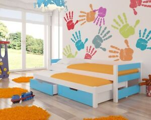 Trundle Toddler  Bed FRAGO for kids  room with 2 free mattresses and drawers