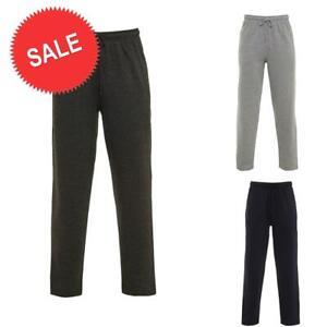 SALE - Mens Plain Fleece Pockets Jogging Bottoms Pants Open Hem Joggers Trouser