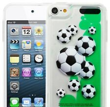 iPod Touch 5th & 6th Gen - Soccer Balls TPU Rubber Green Liquid Clear Case Cover
