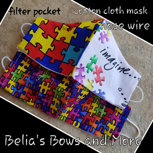SET of 2..Adult Large....Autism Awareness...... Washable Fabric Mask with pocket