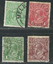 Australia Stamps 60-63 Sg 48, 50, 59, 72 Used F/Vf 1918-24 Scv $31.00
