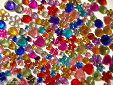 Gems Rhinestones Jewels 7-15mm 25g Assorted Colour & Size Rounds Flowers Hearts