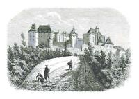 Vintage Castle Illustration DIGITAL Counted Cross-Stitch Pattern Needlepoint